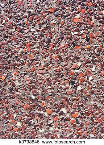 Mur En Cailloux banque d'images - béton, à, minuscule, noir, blanc rouge, pierre