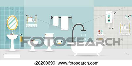 Clip Art Of Bathroom Furniture Display Panorama K28200699