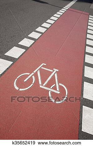 Stock Photograph Of Bike Lane Symbol Bonn K35652419 Search Stock
