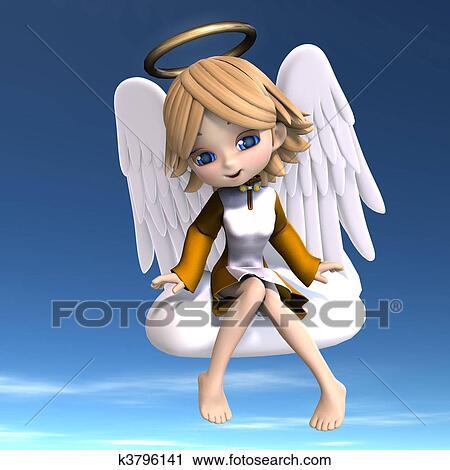 Carino cartone animato angelo con ali e halo. 3d