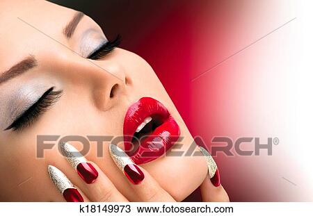 Stock Photo Of Fashion Beauty Model Girl Manicure And Make Up Nail