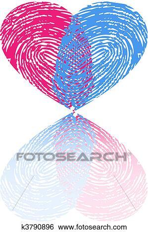 Clip Art Fingerabdruck Herz Vektor K3790896 Suche Clipart