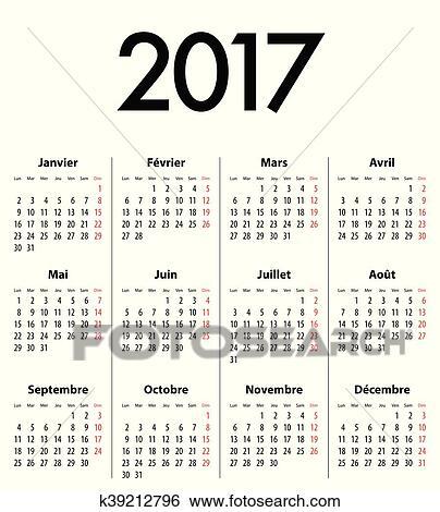 Cerca Calendario.Francese Solido Calendario Griglia Per 2017 Clip Art