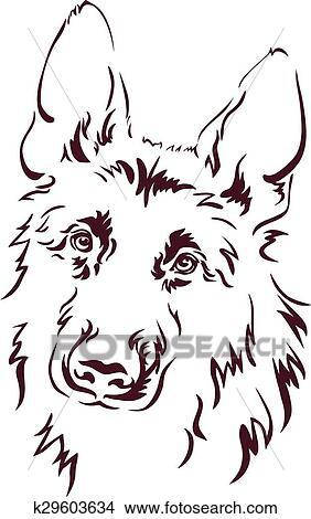 Clipart Of German Shepherd K29603634 Search Clip Art Illustration - German-shepherd-drawings