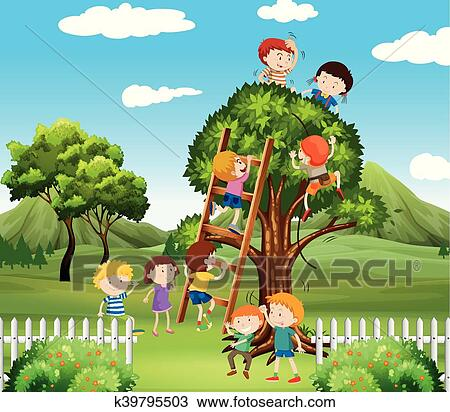 Kids Climbing Up Tree In The Park Clipart K39795503 Fotosearch Happy children playing and having fun at the playground in the middle of the park. kids climbing up tree in the park
