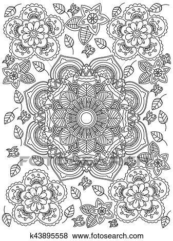 Clip Art - mandala, blume, färbung, vektor, für, erwachsene ...
