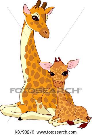 Clipart Mother Giraffe En Baby Giraffe K3793276 Zoek Clipart