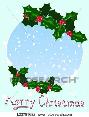 Natale Agrifoglio Disegno Clipart K23781682