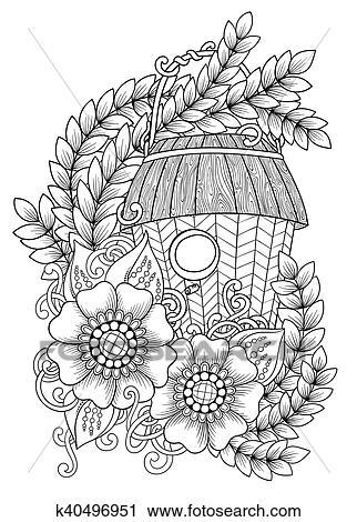 Schwarz Weiß Holz Nistet Box Hand Gezeichnet Aufreißen Vogelhaeuschen Dekoriert Mit Blumen Ornament Zentangle Inspiriert Muster