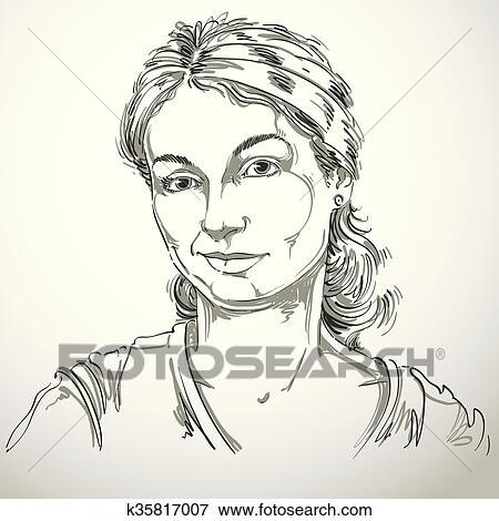 Vecteur Dessin De Méfiant Femme à élégant Haircut Noir Blanc Portrait De Doubter Dame Faire Pas Mensonge à Me Clipart