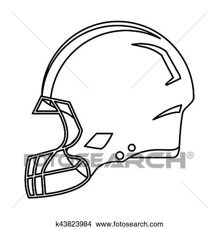 American Football Helmet Protection Outline Clipart