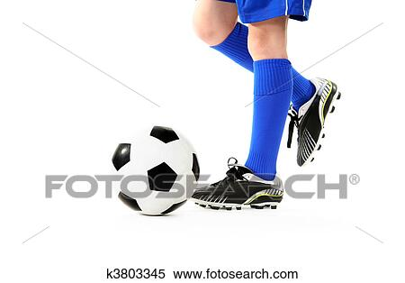 stock image of boy kicking soccer ball k3803345 search stock
