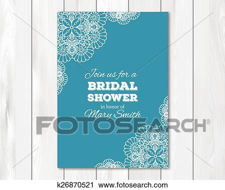 Bridal Shower Or Wedding Invitation Card Template Clipart