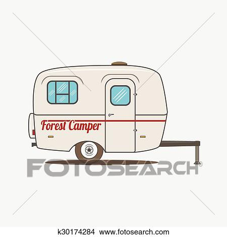 Colorful Vintage Rv Car Retro Recreational Vehicle Camper Van Isolated Caravan Mobile Home For Travel Design