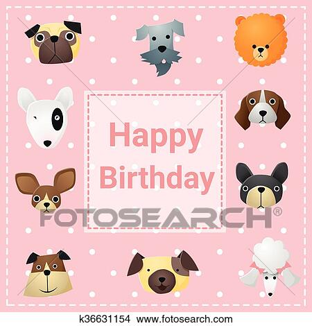 Clipart Of Cute Happy Birthday Card With Funny Dogs K36631154