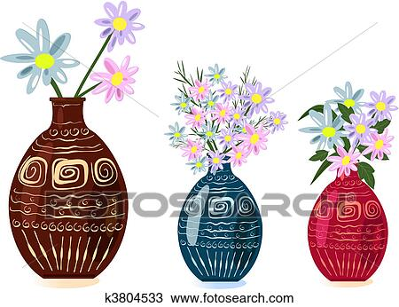 Clipart Of Decorative Vase With Flowers K3804533 Search Clip Art