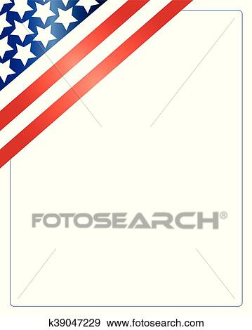 Clip Art Of Frame Patriotic Usa Flag K39047229 Search Clipart