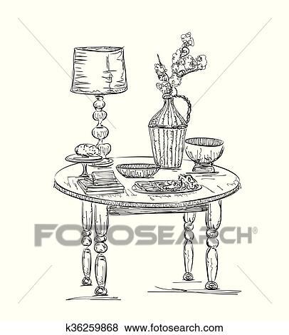 Gedeckter tisch, set., blumen, in, dass, blumenvase Clip Art