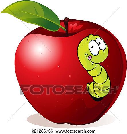 Illustration, de, dessin animé, ver, dans, pomme rouge ...
