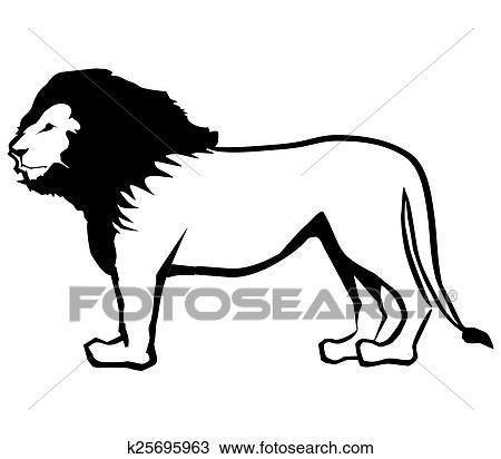 Clipart of Lion Outline k25695963 - Search Clip Art ...