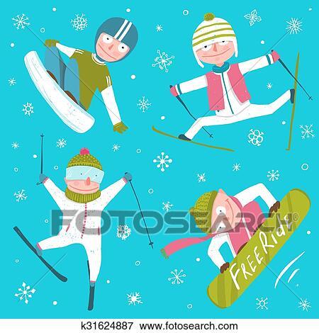 Ski Snowboard Snowflakes Winter Sport Funny Cartoon Collection Clip Art K31624887 Fotosearch