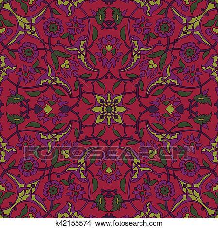 Clipart Stylise Fleurs Oriental Papier Peint Retro Seamless