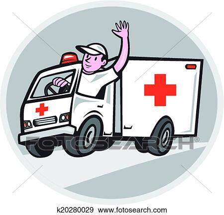 سيارة إسعاف عربة الطارئ السائق تمويج رسم كاريكتوري Clip Art K20280029 Fotosearch
