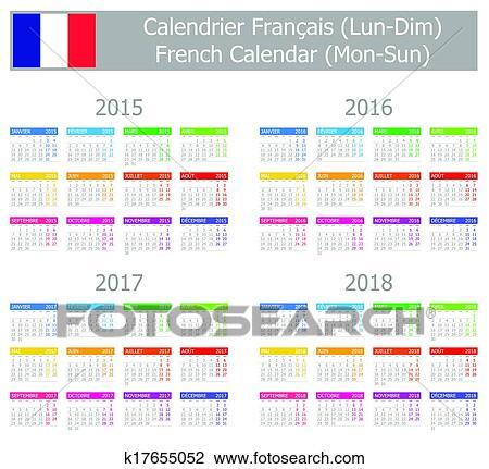 Calendario Frances.2015 2018 Type 1 Frances Calendario Mo Clipart
