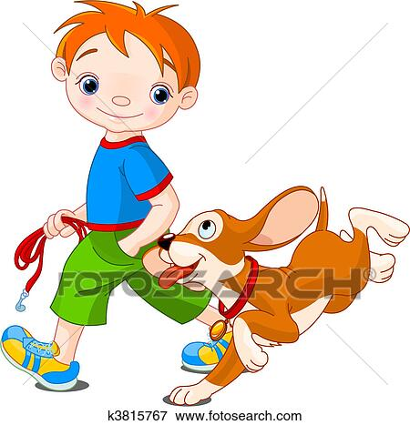clip art of boy walking a dog k3815767 search clipart rh fotosearch com dog walking clip art free clipart dog walking
