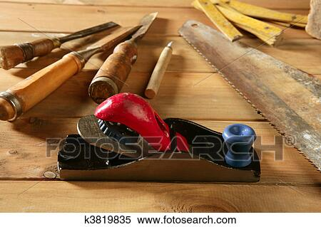 Stock Image Of Carpenter Tools Saw Hammer Wood Tape Plane Gouge