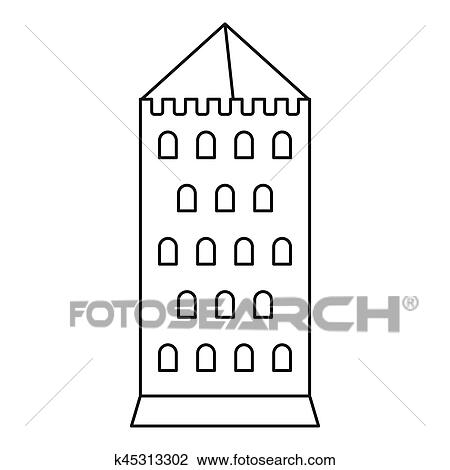 Castle Tower Icon Outline Illustration Of For Web