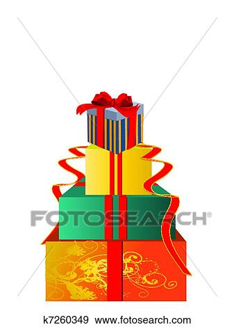 Clip Art Of Christmas Gift Boxes K7260349 Search Clipart