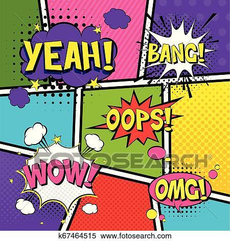 Comic Speech Bubbles Pop Art Vector Label Illustration Vintage Comics Book Poster On Blue Background Colored Funny Font Clipart K67464515 Fotosearch