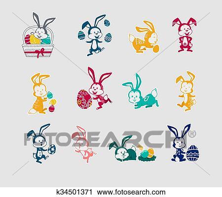 Clipart - conejo pascua, icono, diseño determinado, plano k34501371 ...