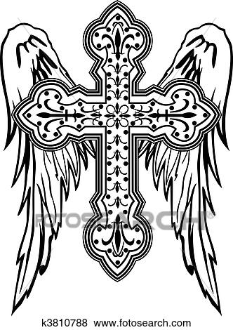 Clip Art Of Cross With Wing Tribal Design K3810788