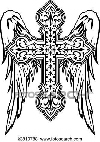 Crucifixos Com Asa Tribal Desenho Clipart K3810788 Fotosearch