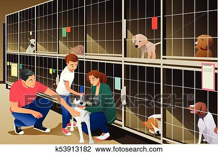 Family Adopting a Dog from Animal Shelter Clipart ...