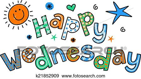 stock illustration of happy wednesday cartoon text clipar k21852909 rh fotosearch com happy wednesday clip art images happy wednesday clipart free