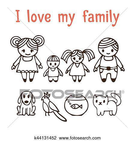 Clipart Io Amore Mio Family Famiglia Felice Con Due Bambini