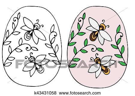 Clip Art - mano, dibujado, huevo de pascua, con, hojas, y, abeja ...