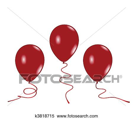 clipart of realistic illustration of three red balloons k3818715