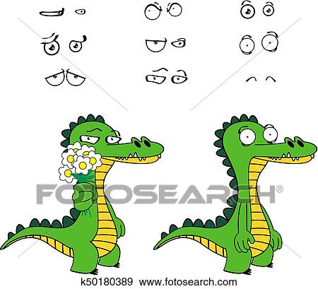 Rigolote Alligator Dessin Animé Expressions Set8 Clipart