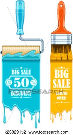 Clipart Of Sale Banner With Maintenance Tools Brushes And Rollers