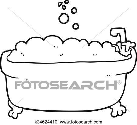Clipart Schwarz Weiß Karikatur Badewanne K34624410 Suche Clip