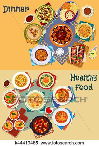 Clipart Of Soup And Salad Of World Cuisine Icon Set Design K44419465
