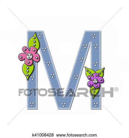 アルファベット デニム そして 花 M イラスト K41008428 Fotosearch