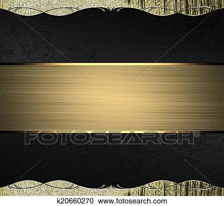 Abstract Black Background With Gold Edges With Gold Trim And