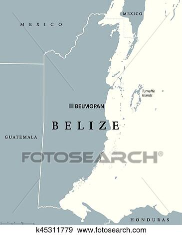 Belize Political Map.Clip Art Of Belize Political Map K45311779 Search Clipart