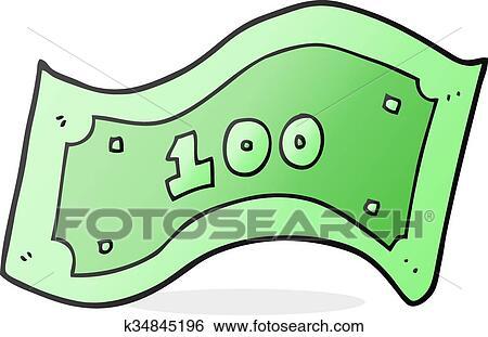 clip art of cartoon 100 dollar bill k34845196 search clipart rh fotosearch com dollar bill clip art free printable dollar bill clipart images