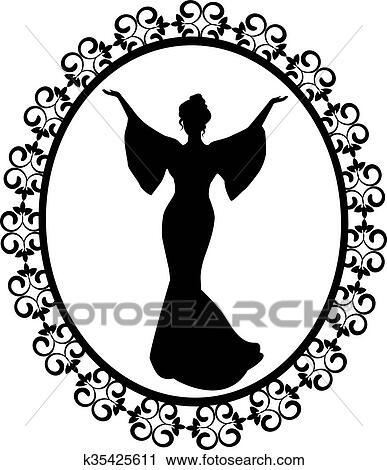 Diva In A Carved Vintage Frame Clipart K35425611 Fotosearch